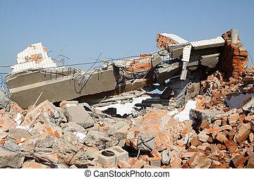 smoldering, démolition, décombres