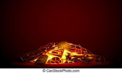 Smoldering fire at night