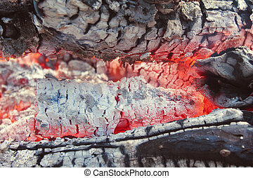 Closeup of hot smoldering logs and ashes