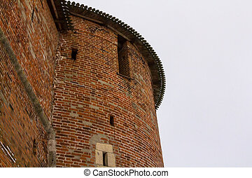 Smolensk Russia part of the historic defensive fortifications of the Kremlin round tower close-up of a brick