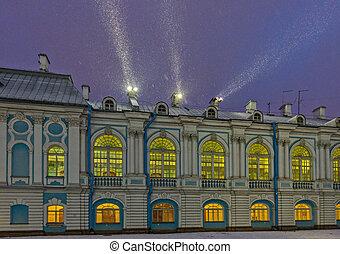 smolny, 女修道院, 由于, 夜晚, 闡明, 在, 彼得堡街, russia.
