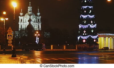 Smolny cathedral and Christmas tree at dark sky background