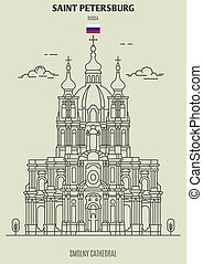 Smolny Cathedral in Saint Petersburg, Russia. Landmark icon in linear style
