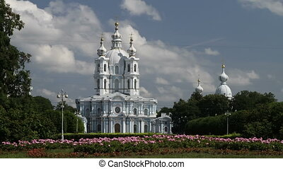 St. Petersburg, Russia - Smolny Cathedral in St. Petersburg,...