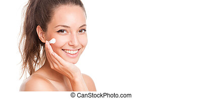 Smooth and healthy. - Portrait of a gorgeous brunette woman...