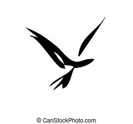 Smooth Bird - Simple bird in flight design in simple...