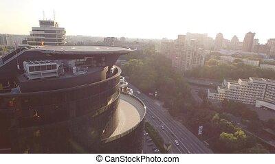 Smooth flight around modern office building in Kiev. Ukraine