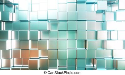 Smooth metallic square bars, loopable 3D animation