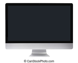 Metallic apple imac computer with flat-screen panel isolated with clipping path over white background