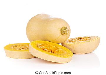 Smooth pear shaped orange butternut squash waltham isolated on white