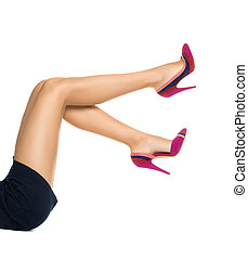 Smooth perfect female legs wearing