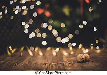 Smooth shady christmas and new year decoration background with round bokeh and champagne cork