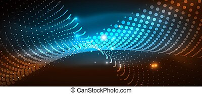 Smooth smoke particle wave, big data techno background with glowing dots, hi-tech concept