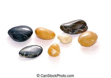smooth stones on white