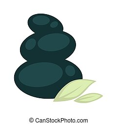 Smooth stones placed one on another and small leaves -...