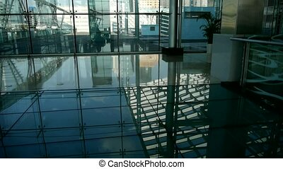Smooth surface, reflection of roof, Luxury mall glass house, hall, Shadow.