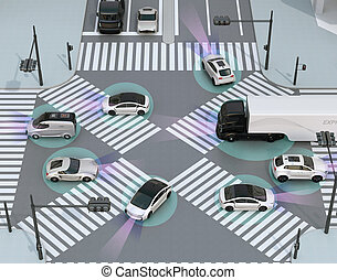 Smooth traffic in crossroad - auto, automobile, car,...