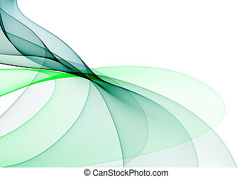 Smooth waves from tones of green on a white background