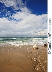 Smooth wet sand on the beach
