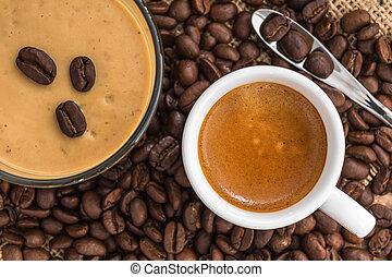 smoothie, エスプレッソ, 新たに, コーヒー, 美しい, crema