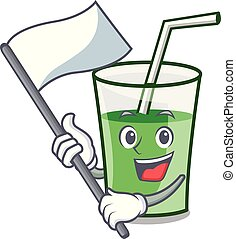 smoothie, 旗, 緑, 漫画, マスコット