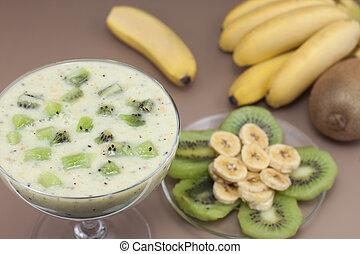 smoothie, 바나나, kiwi.
