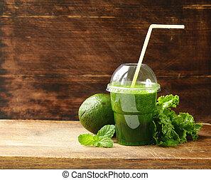 smoothie, avokádó, szerves, zöld, friss