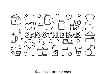 Smoothie bar concept horizontal vector outline banner - ...