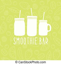 Smoothie bar logo. 3 different mason jars.