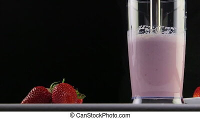 smoothie, boisson, dolly:, main, fraise, fruit, crosse, utilisation, confection, lait, mixer