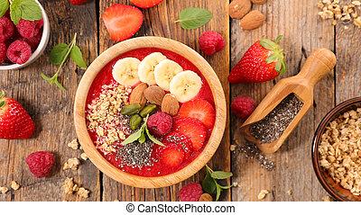 smoothie, bol fruit, céréale