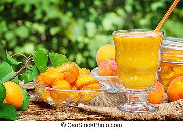 smoothie, bouillir, abricot, jaune