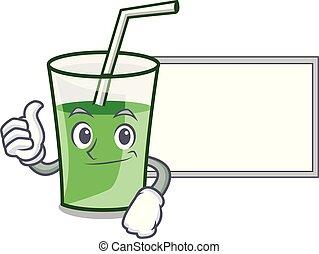 smoothie, caractère, haut, vert, planche, dessin animé, pouces