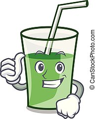 smoothie, caractère, haut, vert, pouces, dessin animé