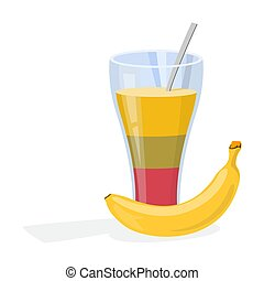Smoothie cocktail and banana. A healthy breakfast