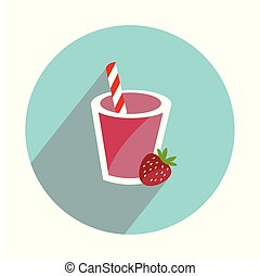 Smoothie cocktail on white background flat