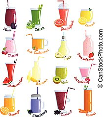 Smoothie Cocktails Icon Set