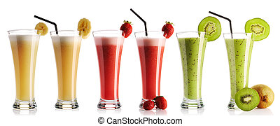 Smoothie collection isolated on white