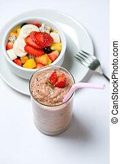 smoothie, e, salada fruta, experiência
