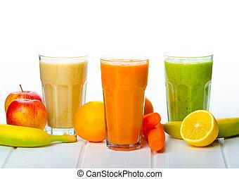 smoothie, egészséges, nap, ital, idő