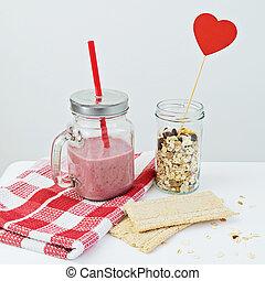 smoothie fraise, à, granola, et, craquelin