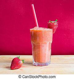 smoothie fraise, dans, verre, à, paille