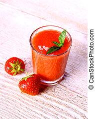 smoothie fraise, deux, verre, baies, menthe