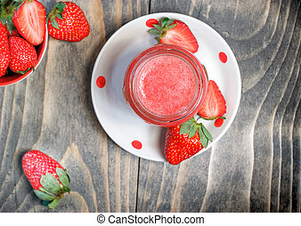 smoothie fraise, -, fraise, jus, (healthy, drink)
