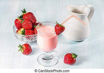 smoothie, fraise, fraises, frais