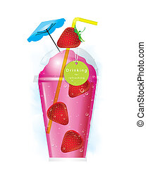 smoothie, fraise, vecteur