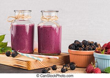 smoothie, friss, piros gyümölcs