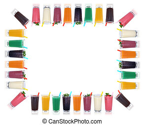 Smoothie fruit juice smoothies drinks with fruits frame and copyspace