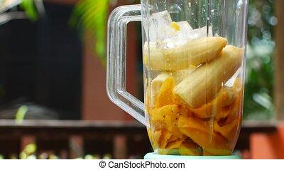 smoothie, fruit, mixer, jeter, récipient