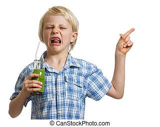 smoothie, garçon, vert, pointage, dégoûté